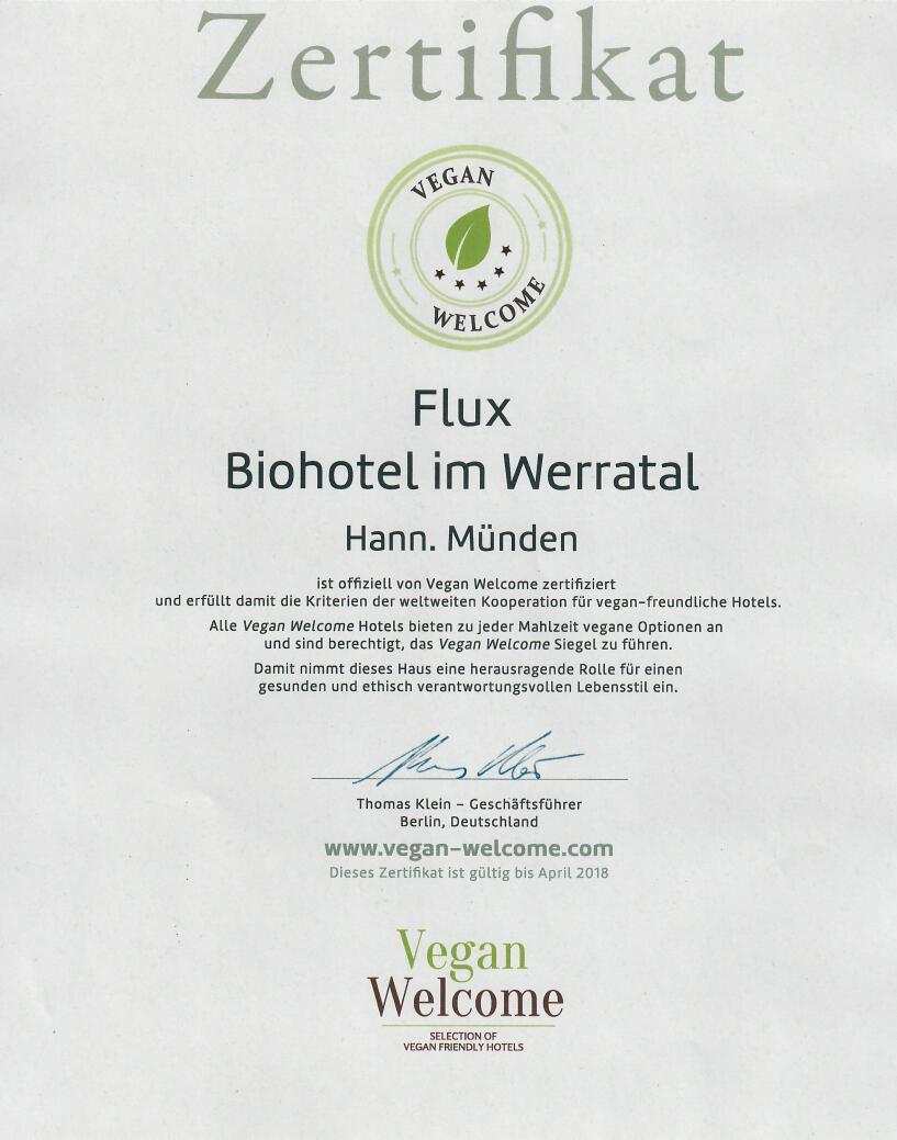 Flux Vegan Welcome Zertifikat 2018